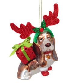 Basset Hound with Antlers Ornament