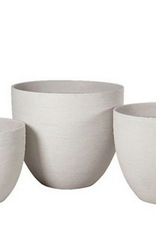 "Small White Horizontal Scratch Vase Planter D16.5"" H14.5"""