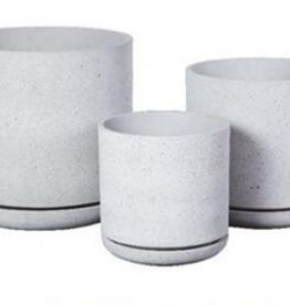 "Medium Sandstone Planter w/Saucer D14"" H14"""