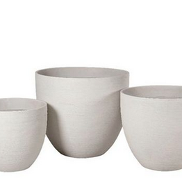 "Large White Horizontal Scratch Vase Planter D24"" H20.5"""