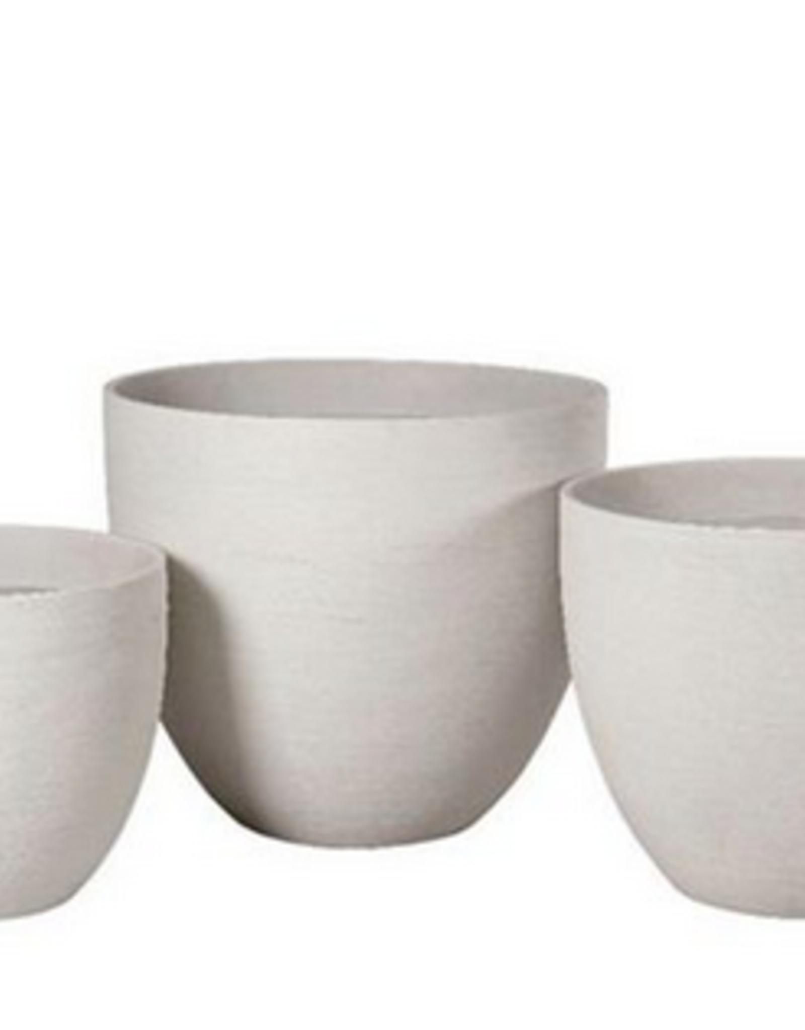 "Medium White Horizontal Scratch Vase Planter D20""  H17.5"""