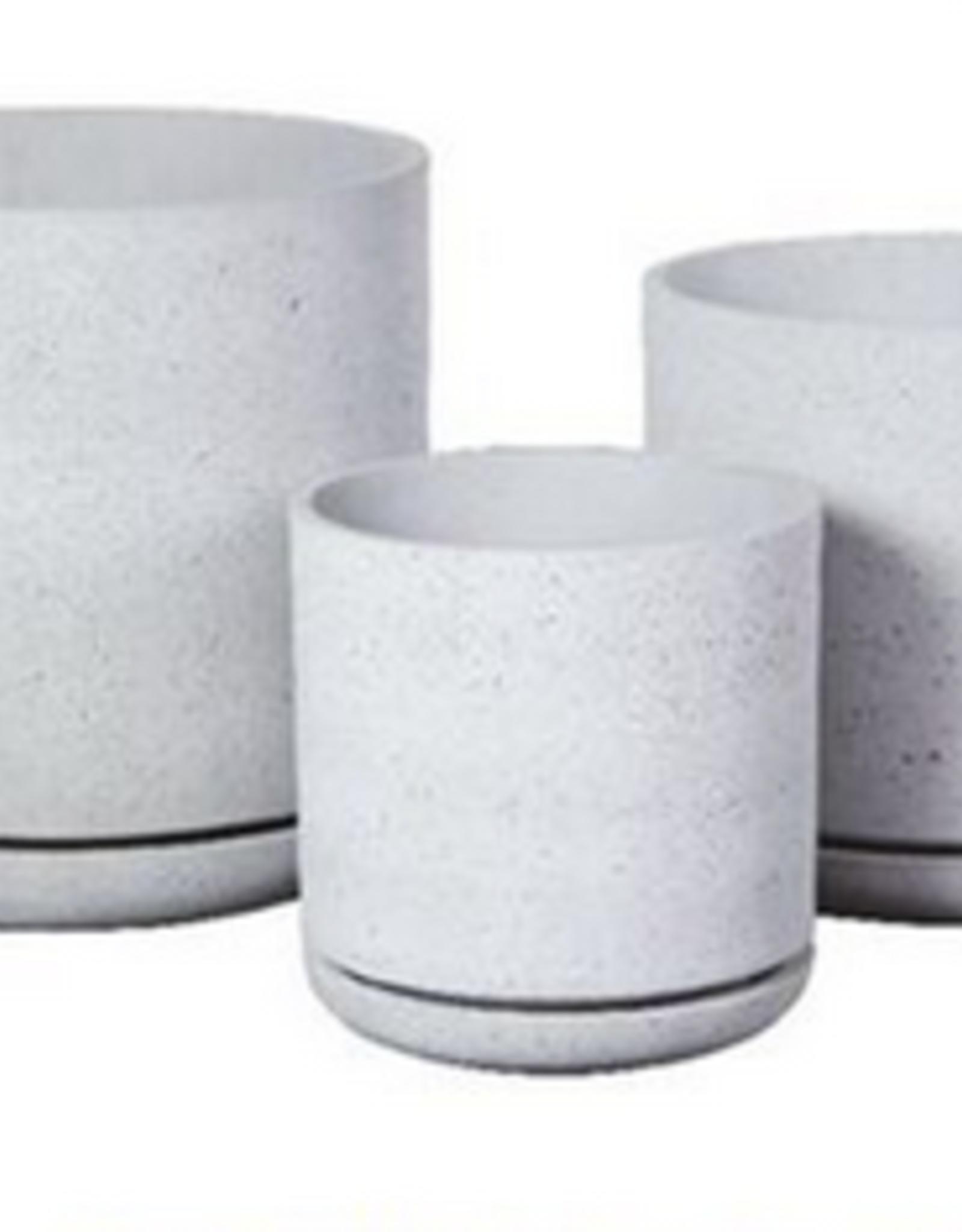 """Large Sandstone Planter w/Saucer D16.5"""" H16.5"""""""