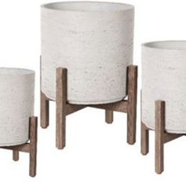 """Small Ro-Cement Planter on Stand 12.5""""H"""
