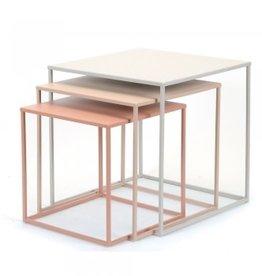 "Blush/Grey Square Metal Nesting Tables 17.75"""
