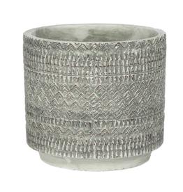 "Grey Kjeld Textured Pot D6.75"" H 6.25"""