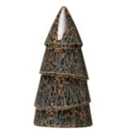 """Large Green Speckled Stoneware Tree D4"""" H8"""""""