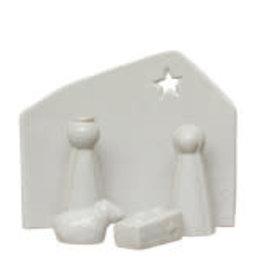 "White Stoneware Nativity Set of 5 H6"""