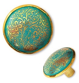 """Green Engraved Brass Knob D1.5"""""""