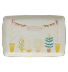 """Stoneware Platter with Trees and Gold L12.5"""" W8.25"""""""