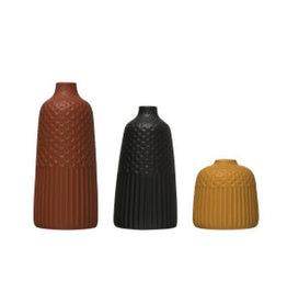 """Medium Black Embossed Vase D4"""" H8.5"""""""