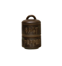 "Stoneware Stackable Salt & Pepper D3"" H5.25"""