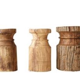 """Carved Wood Vintage Pillar Candle Holder D4"""" H8"""""""