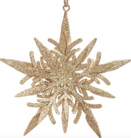 "Gold Metal 3D Snowflake Ornament H5"""