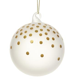 """Frosted Glass Gold Dots Ball Ornament 4"""""""