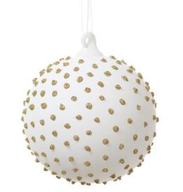 """White Glass Glittered Gold Dots Ball Ornament 4"""""""
