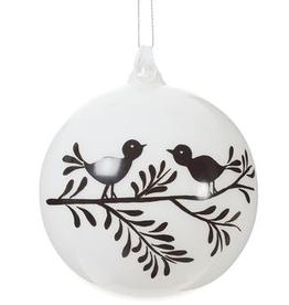 """White & Black Glass Bird Ball Ornament 4"""""""