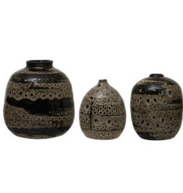 "Small Brown Reactive Glaze Vase D3"" H4.75"""