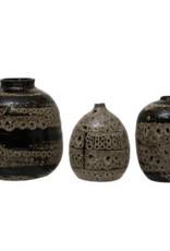 "Medium Brown Reactive Glaze Vase D4"" H5"""
