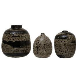 """Large Brown Reactive Glaze Vase D4.75 H6"""""""
