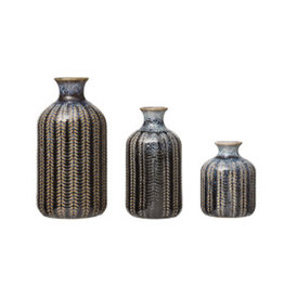 "Small Reactive Glaze Embossed Stoneware Vase H3.75"""
