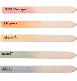 """Watercolour Ceramic Herb Markers 6"""" Set of 5"""