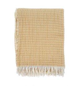 "Wheat Kantha-Stitch Throw L60"" W50"""