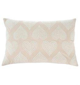 """White Heartbeat Pillow L16"""" W24"""""""