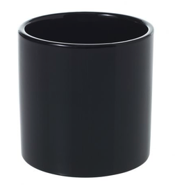 "Small Shiny Black Cercle Pot D4.25"" H4.25"""