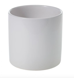 """Large Shiny White Cercle Pot D6.5"""" H6.25"""""""