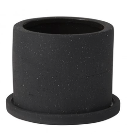 """Small Black Easton Pot with Saucer D5"""" H3.25"""""""