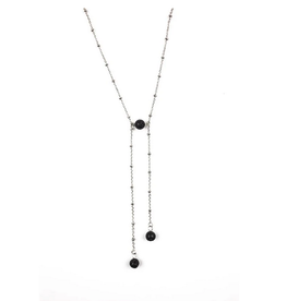 Black Lava Edgy Stainless Steel Ball Chain Necklace