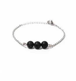 "Black Lava Simplicity Stainless Steel Bracelet 6.7"""