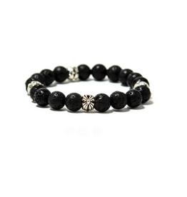 "Black Lava Stone Men's Fire Bracelet 9"""
