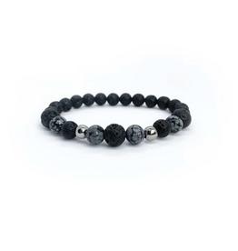 "Lava and Snowflake Obsidian Men's Honour Bracelet 9"""
