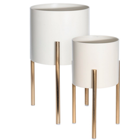"""Small Leni White Pot on Gold Stand D6"""" H11.6"""""""