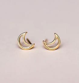 Minimalist Moon Earrings - Gold