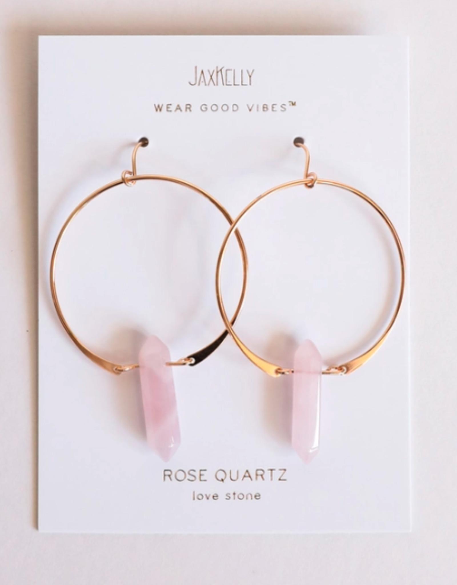 Quartz Hoop Earrings - Rose Quartz