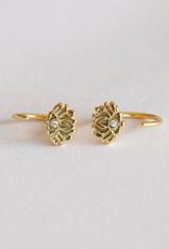 Huggie Earrings - Lotus Flower