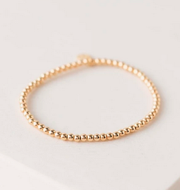 Golden Hour Small Stretch Bracelet - Gold 2mm Beads
