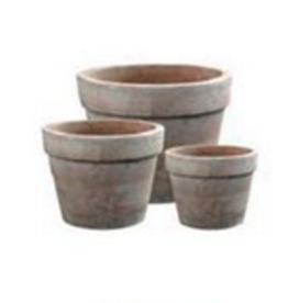 """Medium Classic Banded Terracotta Pot D11.4"""" H10.2"""""""