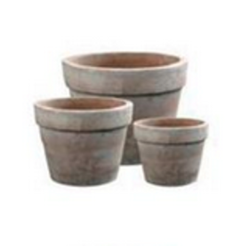 """Large Classic Banded Terracotta Pot D15.3"""" H13"""""""