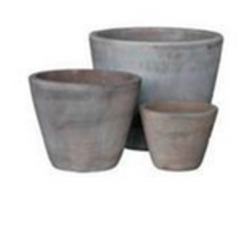 """Large Tapered Terracotta Pot D15.3"""" H12.2"""""""