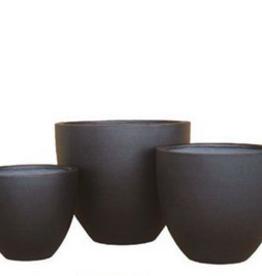 "Small Black Ficonstone Short Vase Planter D16.5"" H14.5"""
