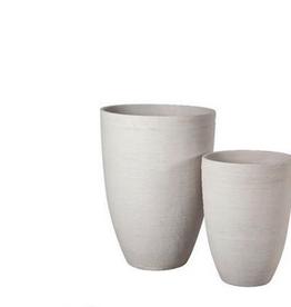 "Small White Sand Sand Fibre Scratch Tall Vase Planter D16"" H22"""