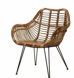 Dark Rattan & Iron Arm Chair