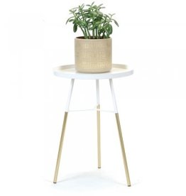 """White & Gold Side Table D13.75"""" H18.75"""""""