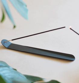 "Matte Black Origami Metal Incense Burner L10"""
