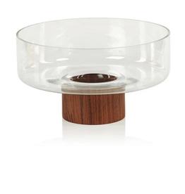 "Medium West Indies Glass Bowl on Walnut Base D10.75"""