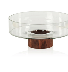"""Large West Indies Glass Bowl on Walnut Base D13"""""""