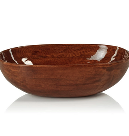 "Large Gabonese Oval Mango Bowl with Walnut Enamel L15"" W9"" H4.5"""
